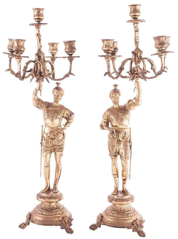 A PAIR OF FRENCH BRONZE CANDELABRA, 20TH CENTURY