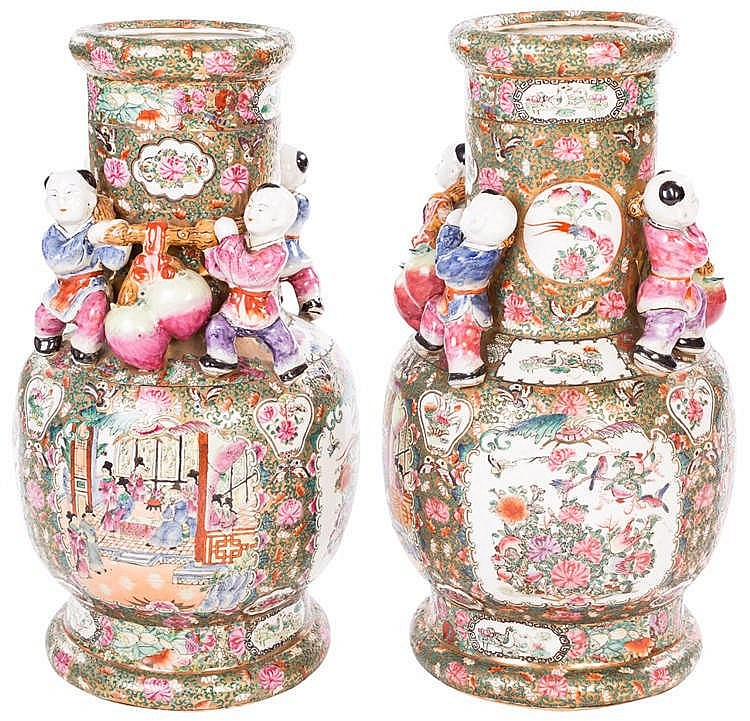 A PAIR OF CANTONESE VASES, FAMILY ROSA, CIRCA 1930