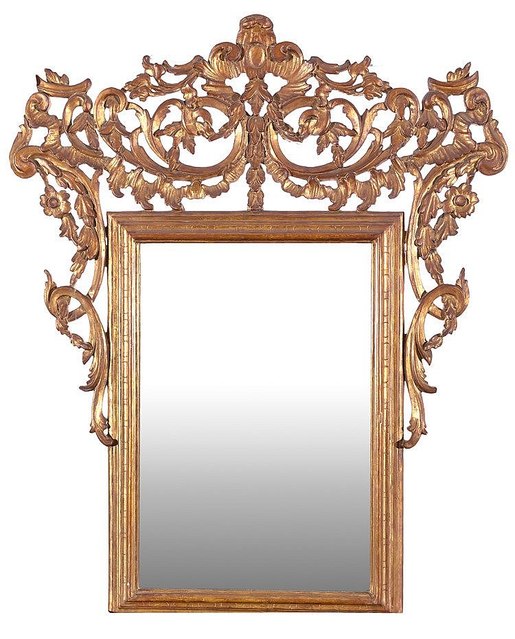 A CARVED AND GILTWOOD CORNUCOPIA MIRROR, 19TH CENTURY