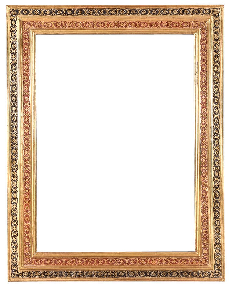 A POLYCHROME AND GILTWOOD FRAME, EARLY 20TH CENTURY