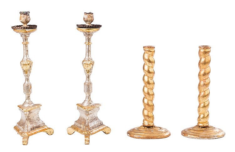 A PAIR OF CANDLESTICKS, 19TH CENTURY