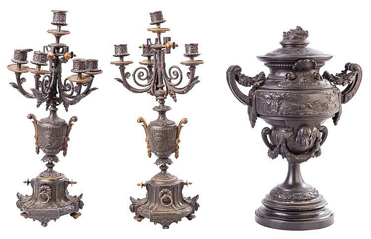 A PAIR OF SIX LIGHTS CANDELABRA