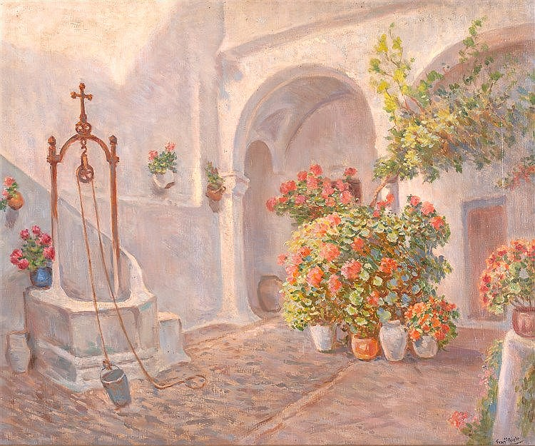 FRANCISCO PRIETO - PATIO CON FLORES