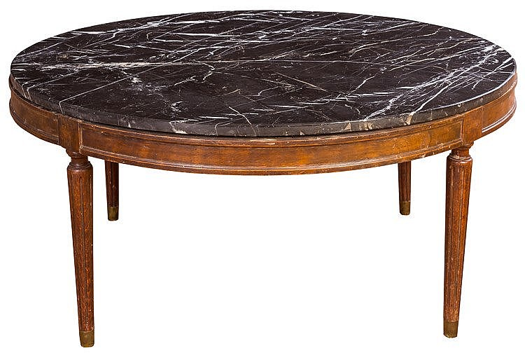 A WALNUT AND MARBLE COFFEE TABLE, MID 20TH CENTURY