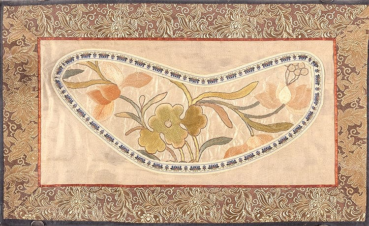 A CHINESE SILK EMBROIDERED TEXTILE FRAGMENT, 19TH CENTURY