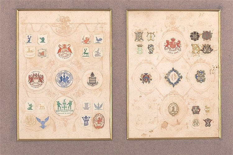 A COLLECTION OF HERALDIC SHIELDS, 19TH CENTURY