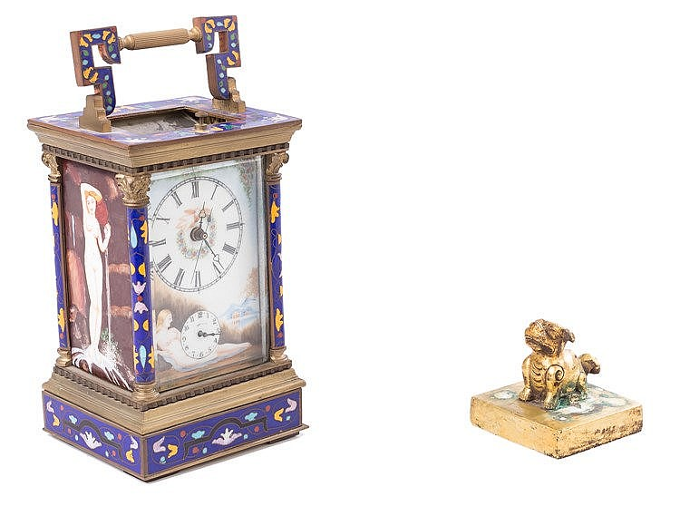 A BRONZE AND ENAMEL TRAVEL CLOCK, 19TH CENTURY