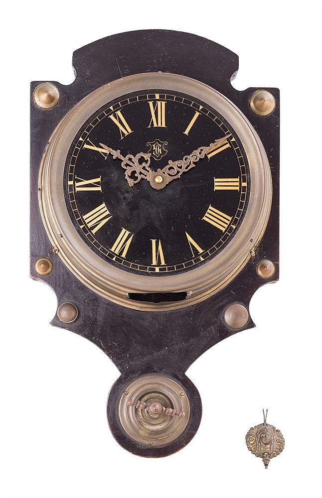 A WOOD WALL CLOCK, 19TH CENTURY