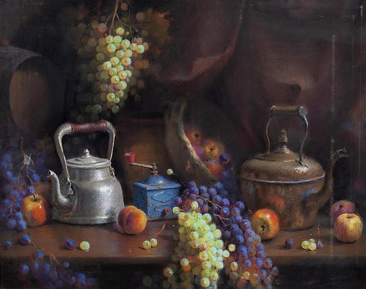 JOSÉ GONZÁLEZ - STILL LIFE WITH GRAPES AND GRINDERS