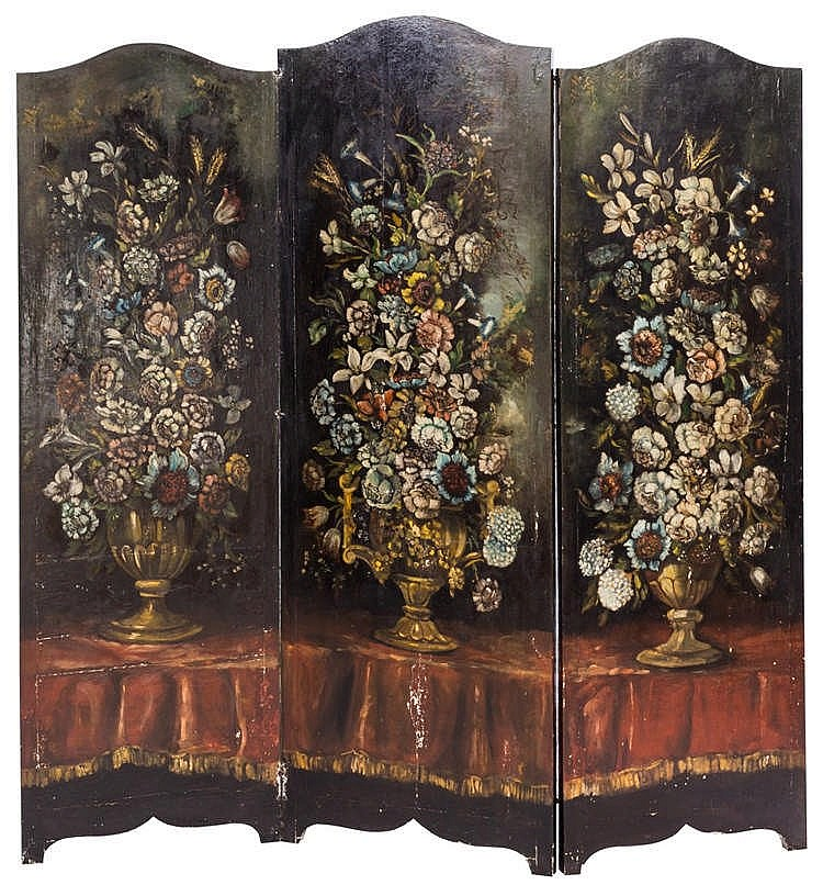 A THREE-LEAF FOLDING SCREEN, LATE 19TH CENTURY