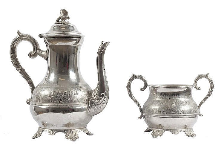 AN ENGLISH TEAPOT AND SUGAR BOWL