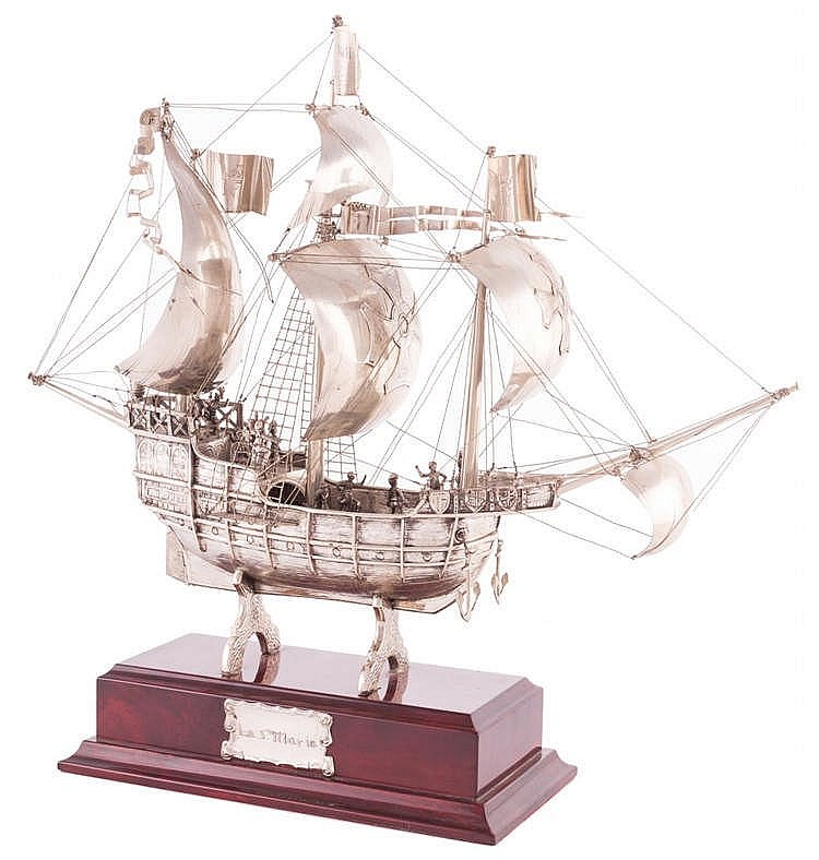 A STERLING SILVER SHIP MODEL, 20TH CENTURY