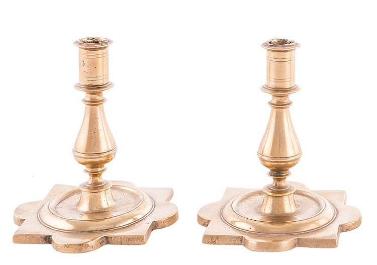 A PAIR OF GILT BRONZE CANDLESTICKS, 18TH CENTURY