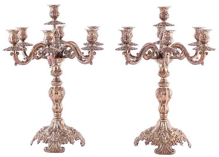 A PAIR OF SILVER CANDELABRA