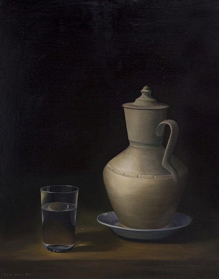 JUAN ANTONIO LEÓN OLMO - STILL LIFE WITH GLASS OF WATER AND JUG
