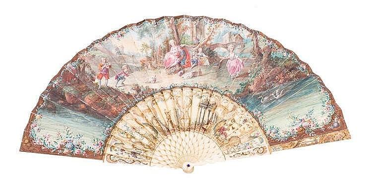 A HAND FAN, MID 18TH CENTURY