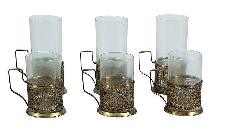 A SET OF SIX GLASS HOLDERS, 20TH CENTURY