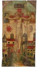 ESCUELA ESPAÑOLA, S. XIII Cristo en la Cruz con la Virgen y San Juan
