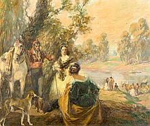 FRANCISCO HOHENLEITER DE CASTRO «Romería». Oil on canvas