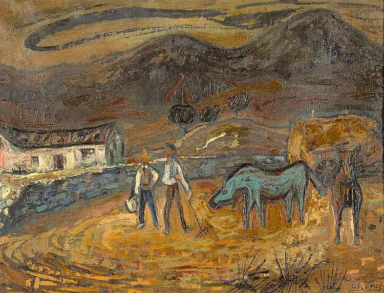 JOSE MARÍA ASCUNCE «La Era». Oil on canvas