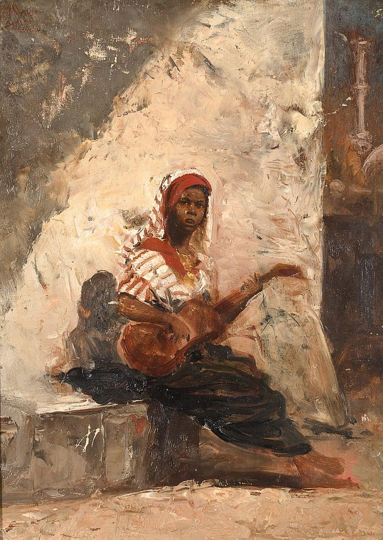 JOSÉ VILLEGAS CORDERO «Niño tocando la guitarra». Oil on board