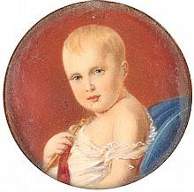 ENGLISH SCHOOL «A Portrait of a Baby». Watercolor on ivory