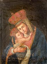 SPANISH SCHOOL «The Virgin and Child». Oil on canvas