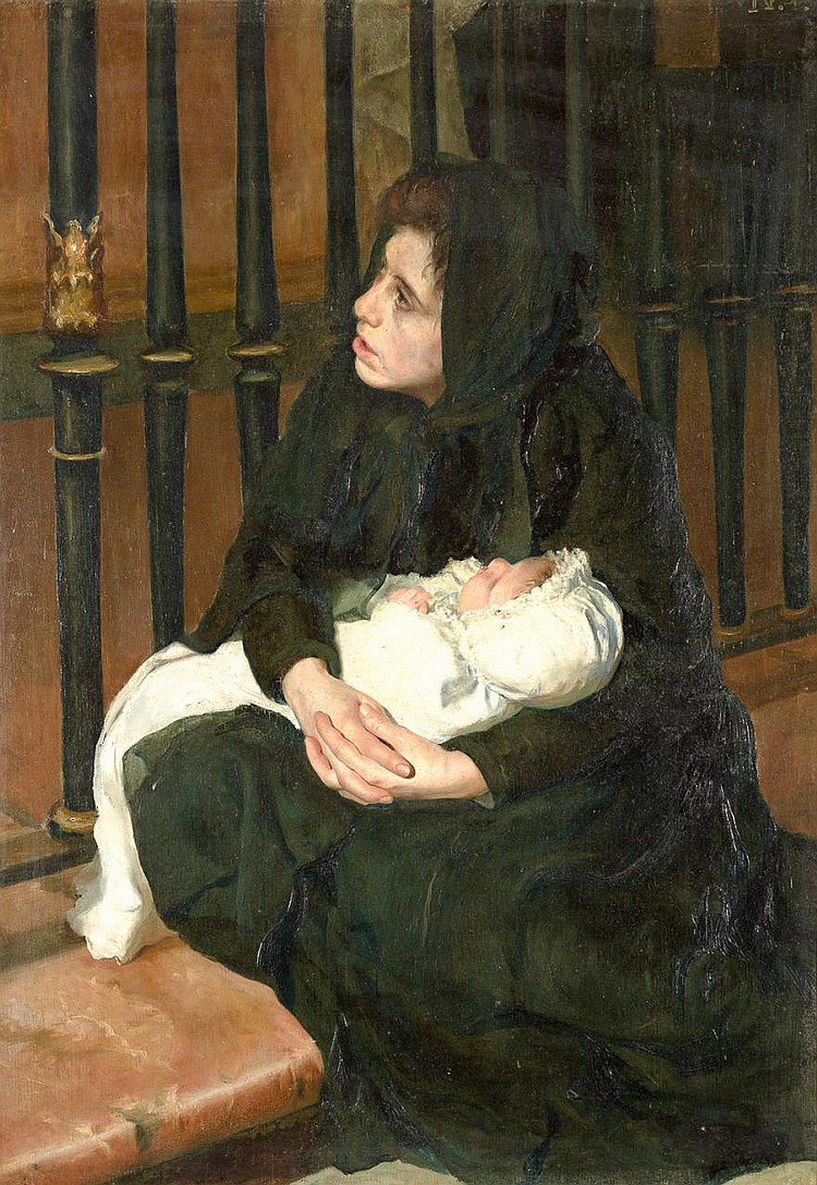ATTRIBUTED TO MARÍA LUISA PUIGGENER SÁNCHEZ «Mother and Daughter». Oil on canvas