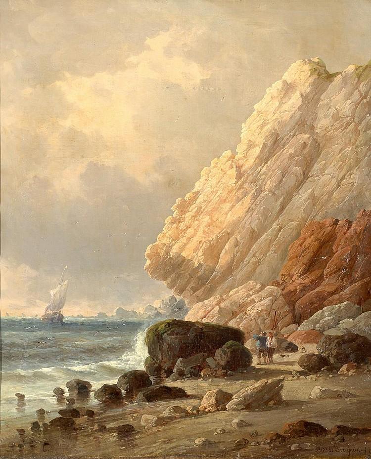 ANTONIO DE BRUGADA VILA «Marine». Oil on canvas