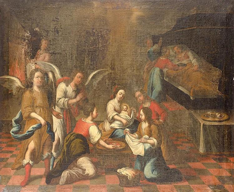 ATTRIBUTED TO ANDRÉS PÉREZ (Seville, 1660-1727), «Nacimiento de la Virgen». Oil on canvas