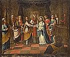 ATTRIBUTED TO ANDRÉS PÉREZ (Seville, 1660-1727) «Los desposorios de la Virgen». Oil on canvas