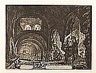 GIOVANNI BATTISTA PIRANESI «Interior of the Villa di Mecenate. Serie Vedute di Roma». Etching on paper