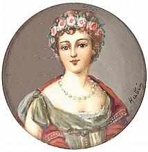 FRENCH SCHOOL «A Portrait of a Young Lady». Watercolor on ivory