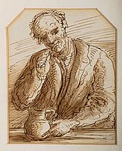 JOHN JOSEPH BARKER (United Kingdom, 1824-1904) «Estudio de personaje con jarra y Estudio de personaje sosteniendo un farol». A pair of gouache and ink on paper