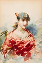 EUGENIO OLIVA Y RODRIGO Palencia 1852 Young man with red shawl