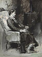 LUIS JIMENEZ ARANDA (Sevilla, 1845 - 1928), Seated Woman - LUIS JIMÉNEZ ARANDA 1845 Sevilla - 1928 Mujer sentada