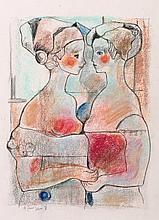 MIGUEL TORNER DE SEMIR (Sant Feliu de Guixols, Girona, 1938), A set of three scenes with ladies - MIGUEL TORNER DE SEMIR 1938 Sant Feliu de Guixols, Girona - Conjunto de tres escenas con damas