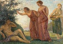 LUIS MASRIERA (Barcelona, 1872 - 1958), Escena mitológica - LUIS MASRIERA 1872 Barcelona - 1958 Escena mitológica