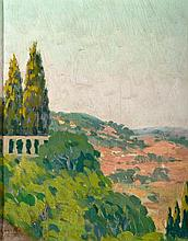 EUGENIO GÓMEZ MIR (Granada, 1877 - 1938), Landscape with Cypresses - EUGENIO GÓMEZ MIR 1877 Granada - 1938 Paisaje con cipreses
