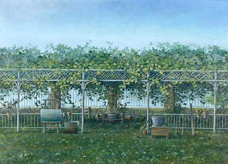 JUAN  ROLDÁN (Seville, 1940- 2014),  El jardín del pintor - JUAN  ROLDÁN  1940 Sevilla - 2014 El jardín del pintor
