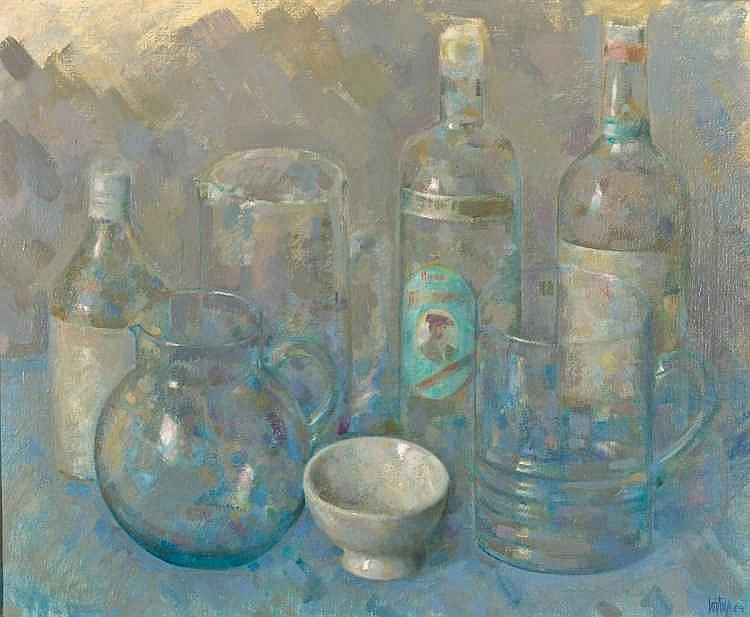 FRANCISCO CORTIJO (Sevilla, 1936- 1996), Still Life with Bottle of Anise