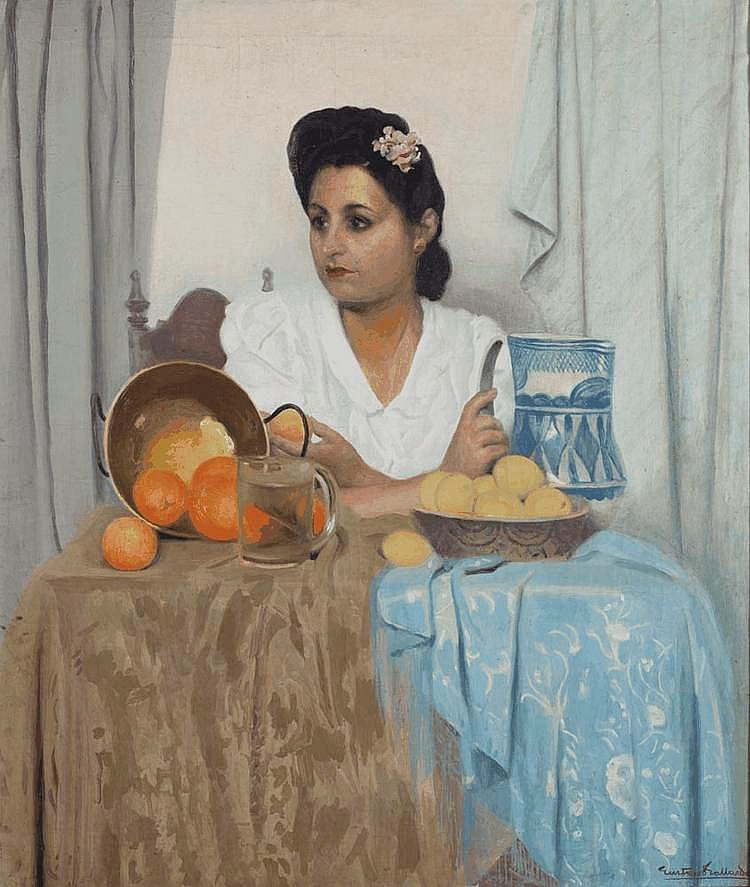 PORTRAIT OF WOMAN WITH STILL LIFE