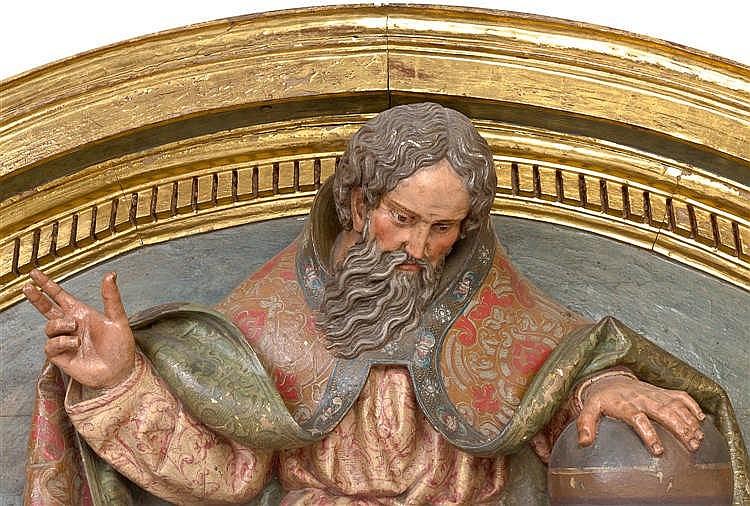 Escuela espa ola s xviii dintel en madera tallada y policro - Dintel de madera ...