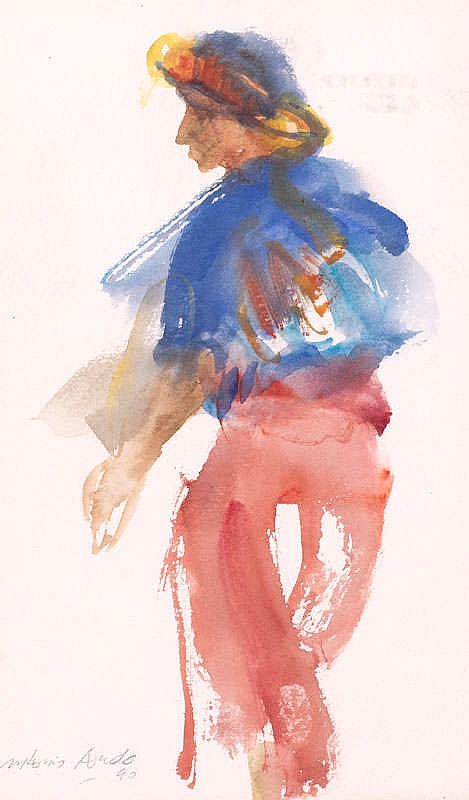 ANTONIO AGUDO, Personaje con pantalón rojo. Watercolour on paper