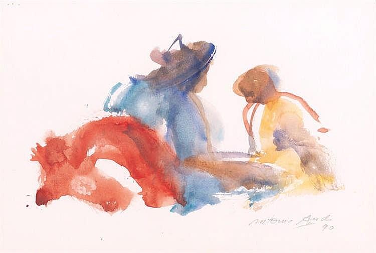 ANTONIO AGUDO, Personajes. Watercolour on paper