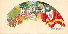 FRANCISCO HOHENLEITER DE CASTRO, País de abanico con el Pabellón de Perú para la expo Iberoamericana del 29. Gouache on paper