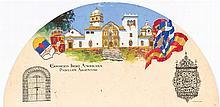FRANCISCO HOHENLEITER DE CASTRO, País de abanico con el Pabellón de Argentina para la Exposición Iberoamericana del 29. Gouache on paper