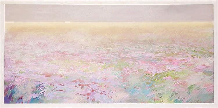 FRANCISCO MOLINA, Lluvia con campo. Oil on canvas
