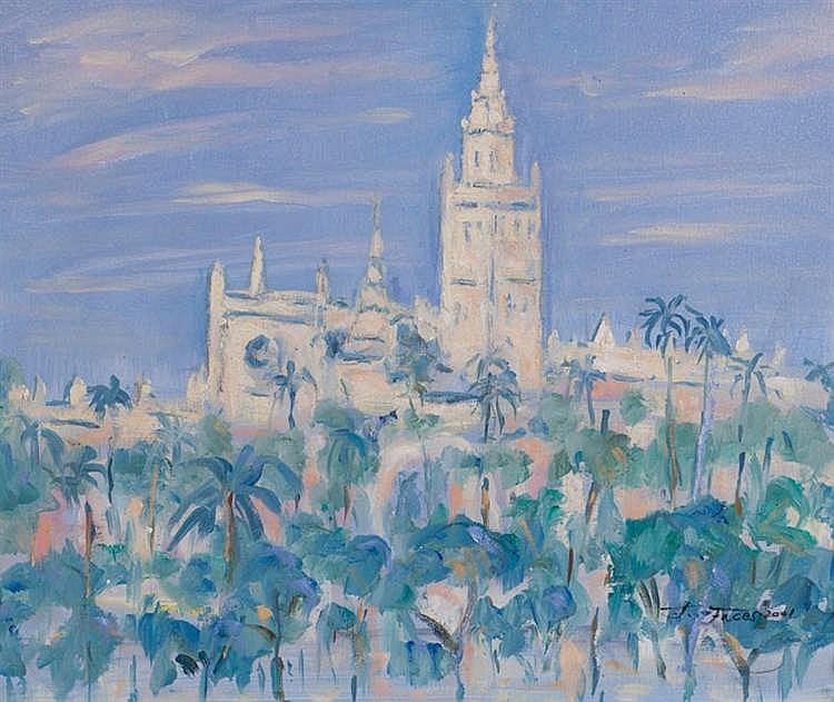 FERNANDO FACES, Vista de Sevilla. Oil on canvas
