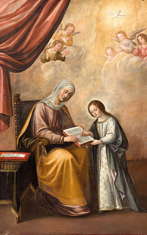 JUAN DEL CASTILLO, La educación de la Virgen. Oil on canvas